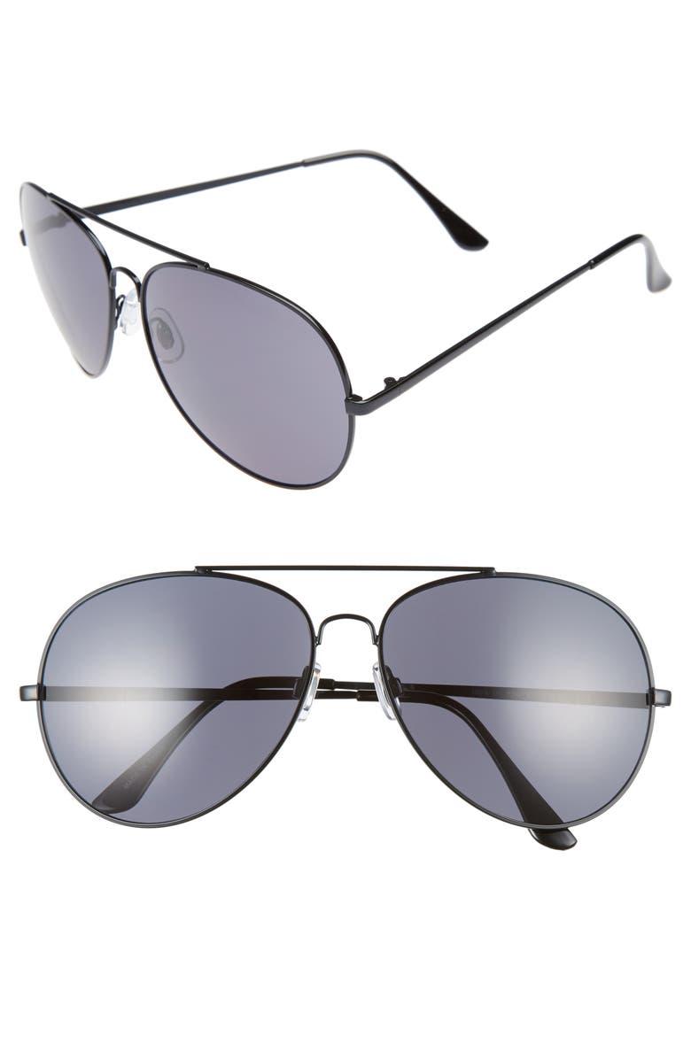 BP. 65mm Oversize Aviator Sunglasses, Main, color, 001