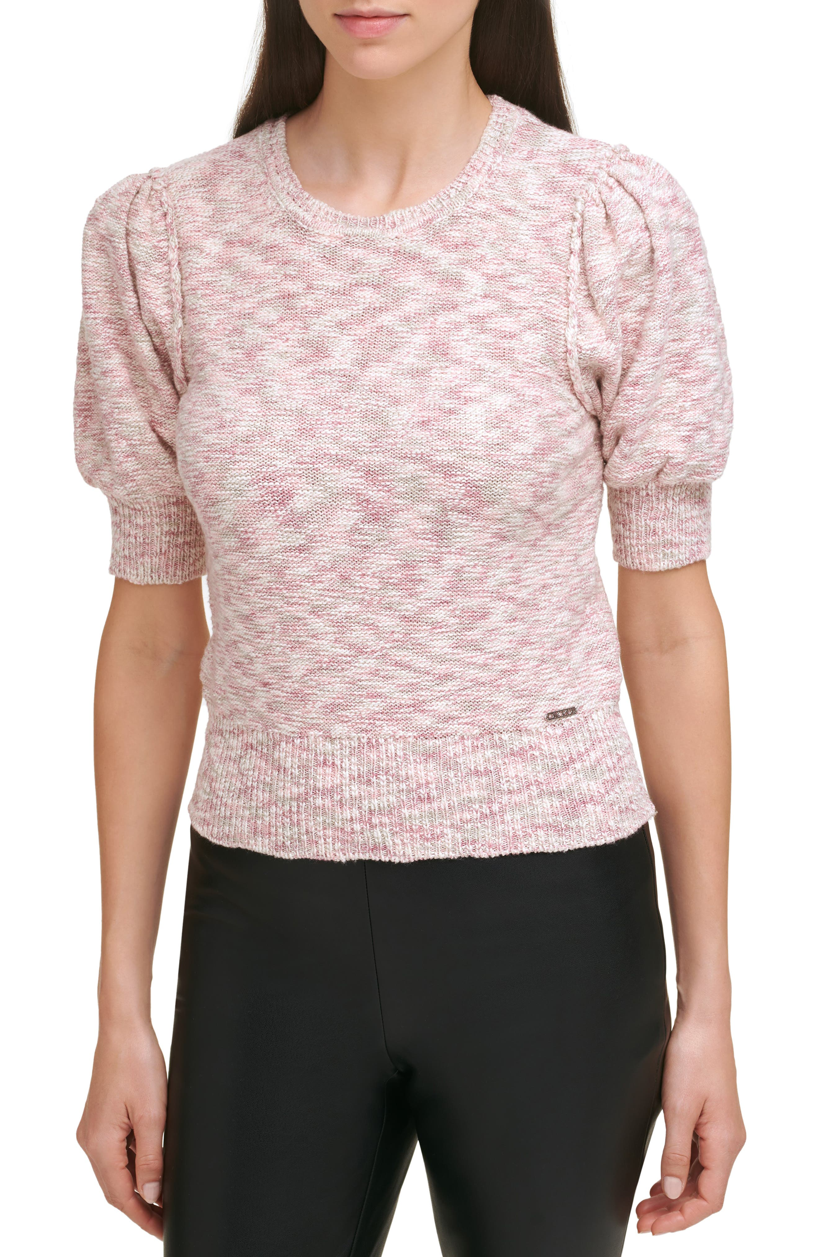 Marled Puff Sleeve Cotton Blend Sweater
