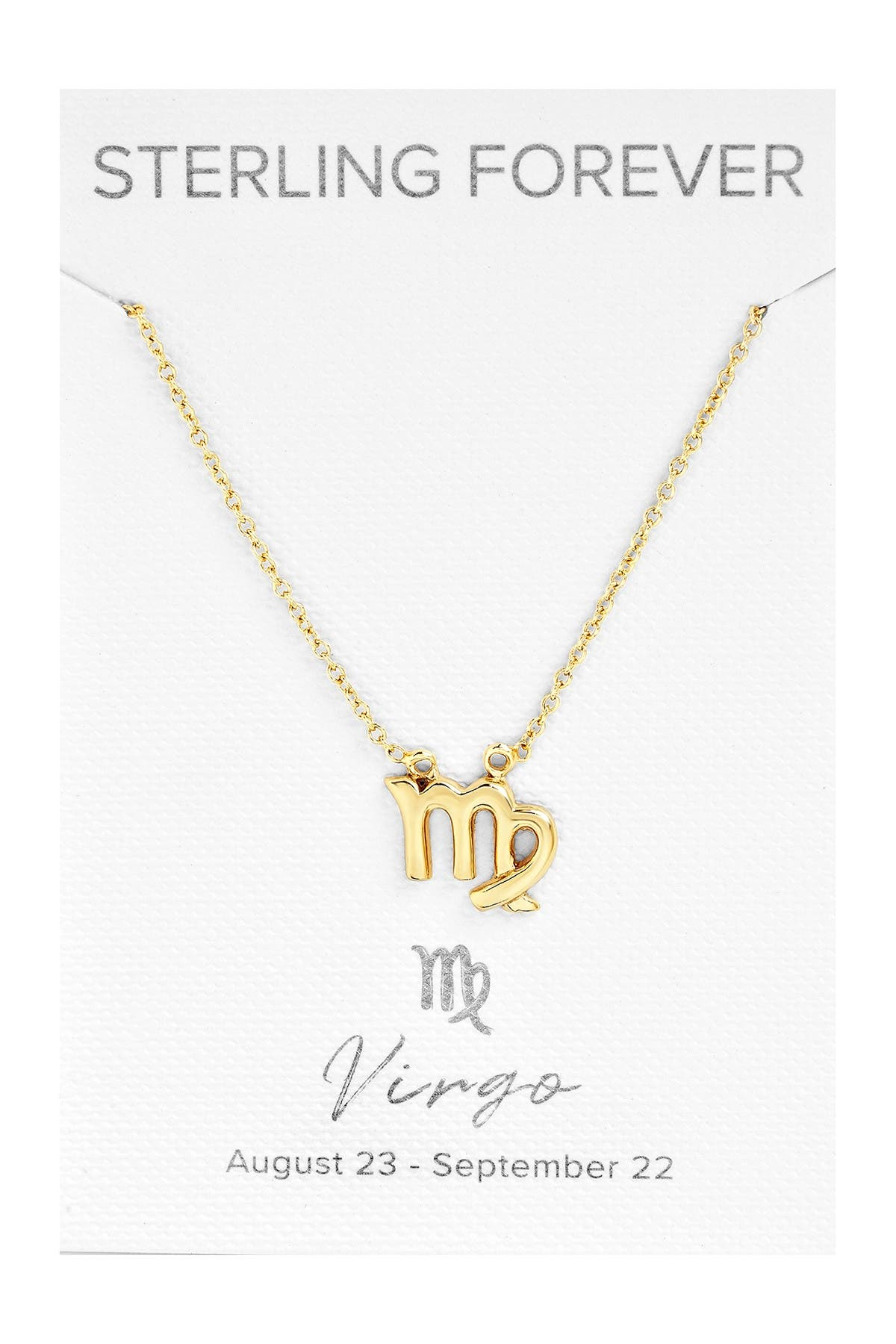 Image of Sterling Forever 14K Yellow Gold Plated Zodiac Pendant Necklace - Virgo
