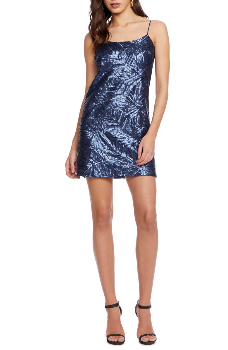 COSMOPOLITAN DRESS THE POPULATION Kimberly Sequin Minidress, Main, color, NAVY