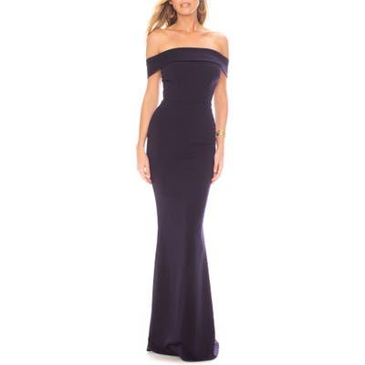 Katie May Legacy Crepe Mermaid Gown, Blue
