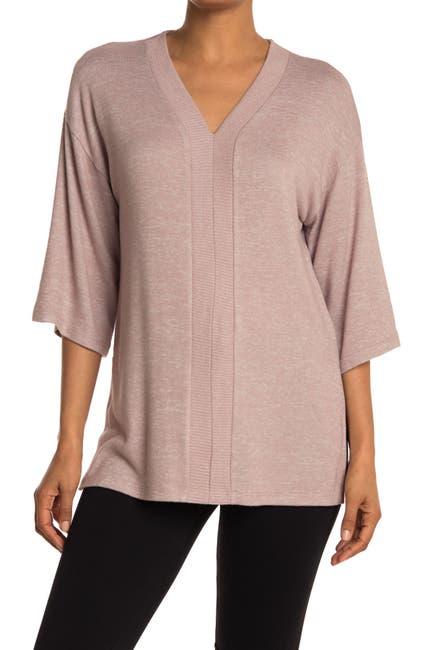 Image of Bobeau Brushed Knit 3/4 Sleeve Poncho Sweater