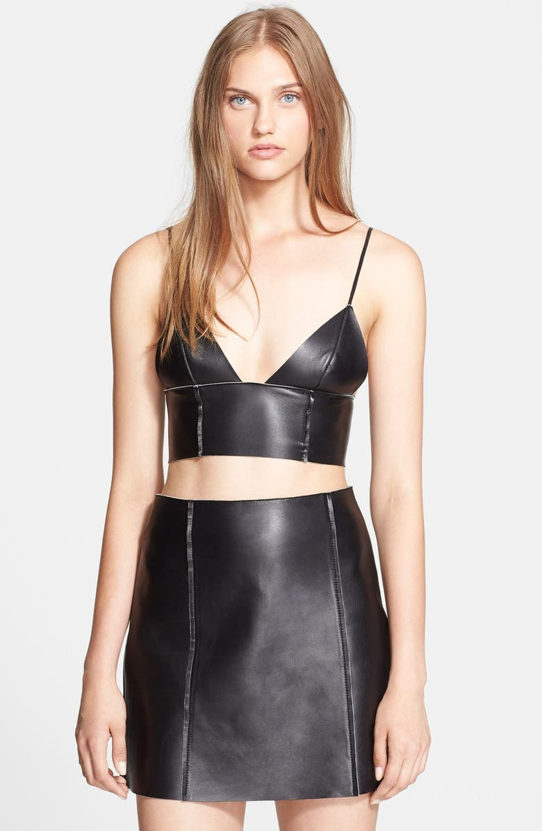 ALEXANDERWANG.T T by Alexander Wang Bonded Nappa Leather Bralette, Main, color, 001