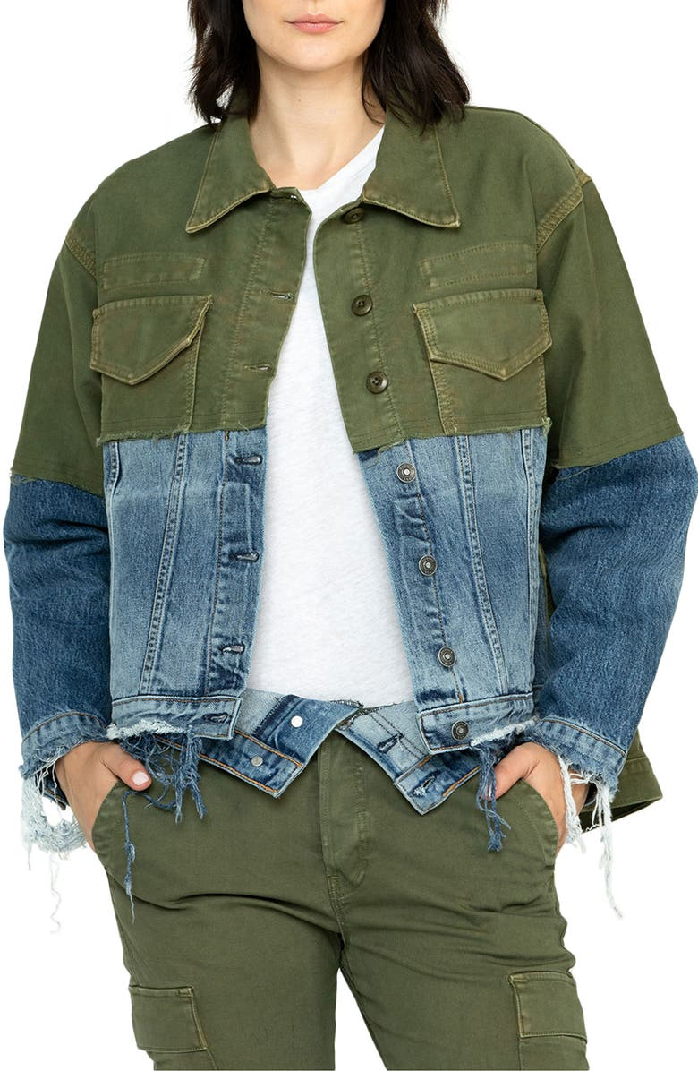 HUDSON JEANS Twill & Denim Combo Jacket, Main, color, TURNABOUT