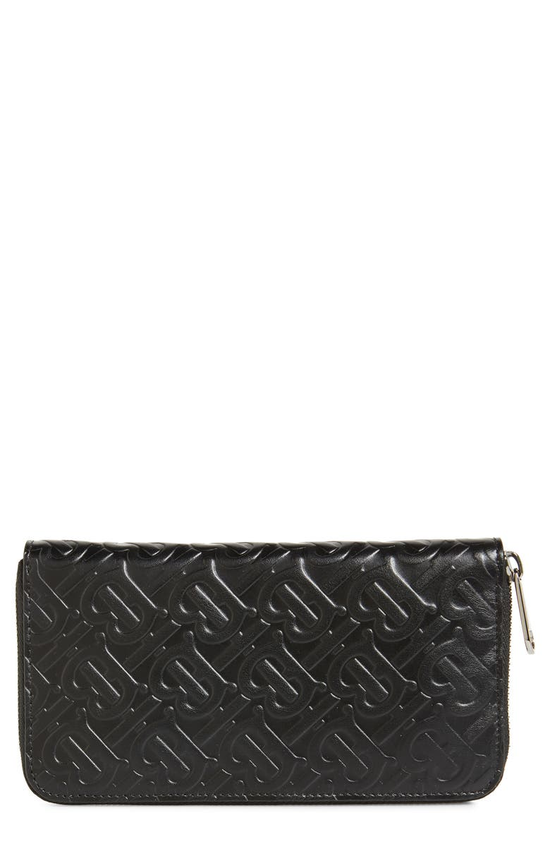 BURBERRY Large Monogram Leather Wallet, Main, color, 001