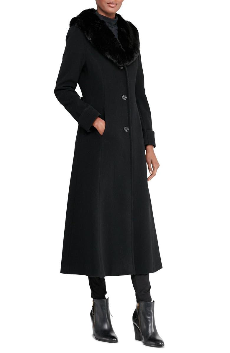 LAUREN RALPH LAUREN Faux Fur Collar Wool Blend Coat, Main, color, BLACK