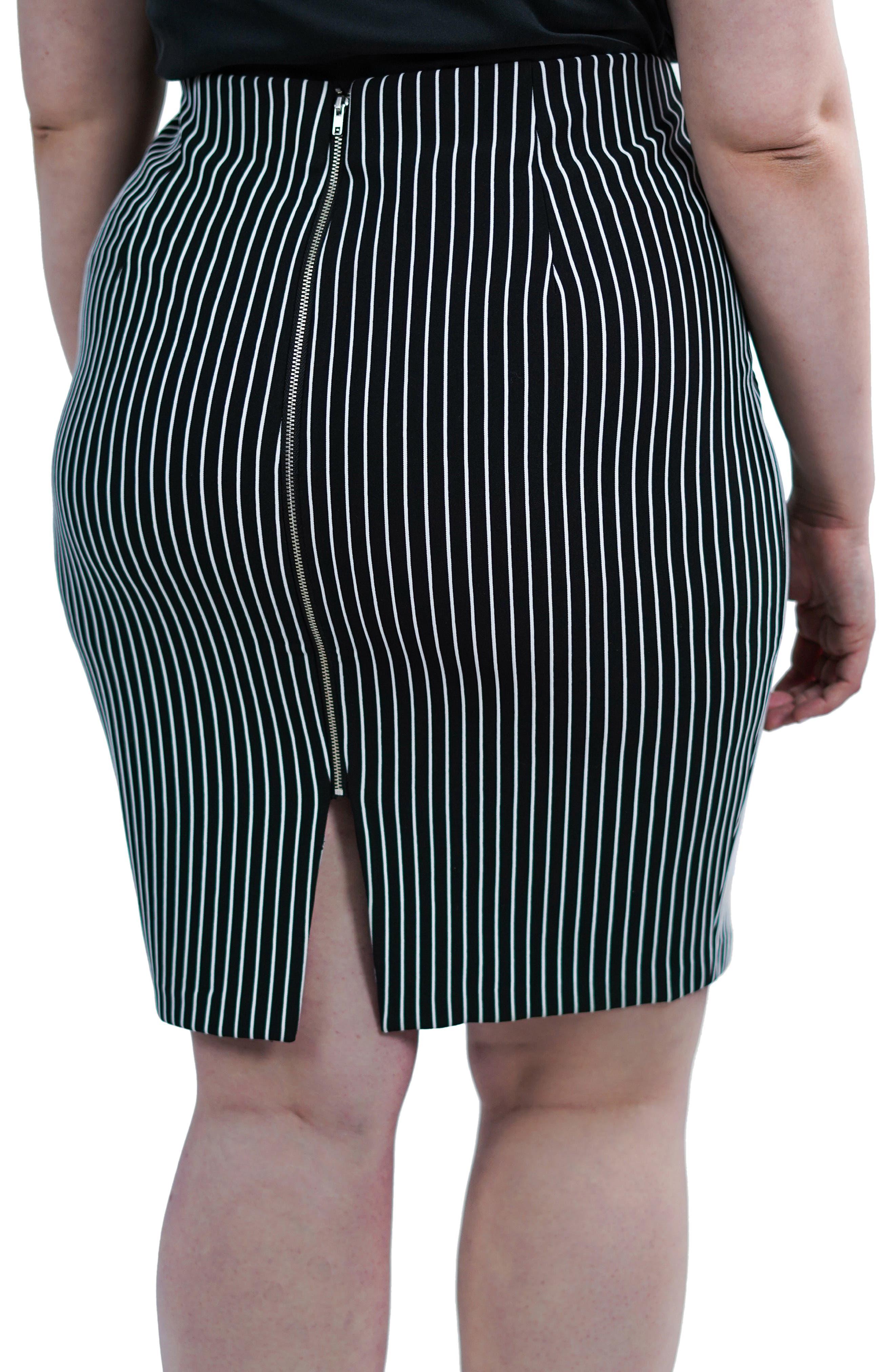 ,                             Textured Stripe Skirt,                             Alternate thumbnail 3, color,                             BLACK/ WHITE