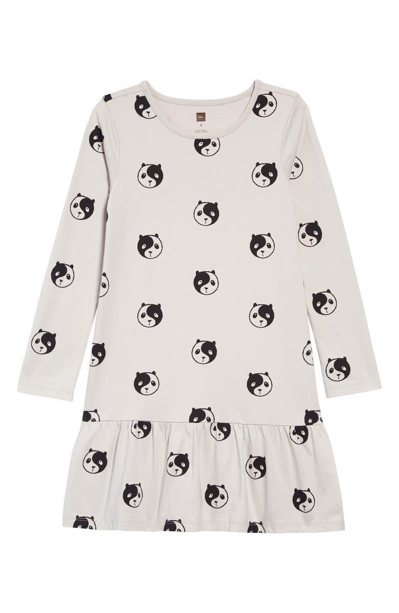 TEA COLLECTION Long Sleeve Ruffle Hem Dress, Main, color, YING YANG PANDA