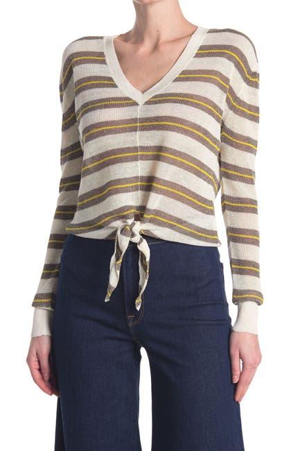 Image of VERONICA BEARD Arthur Tie Hem Linen Blend Sweater