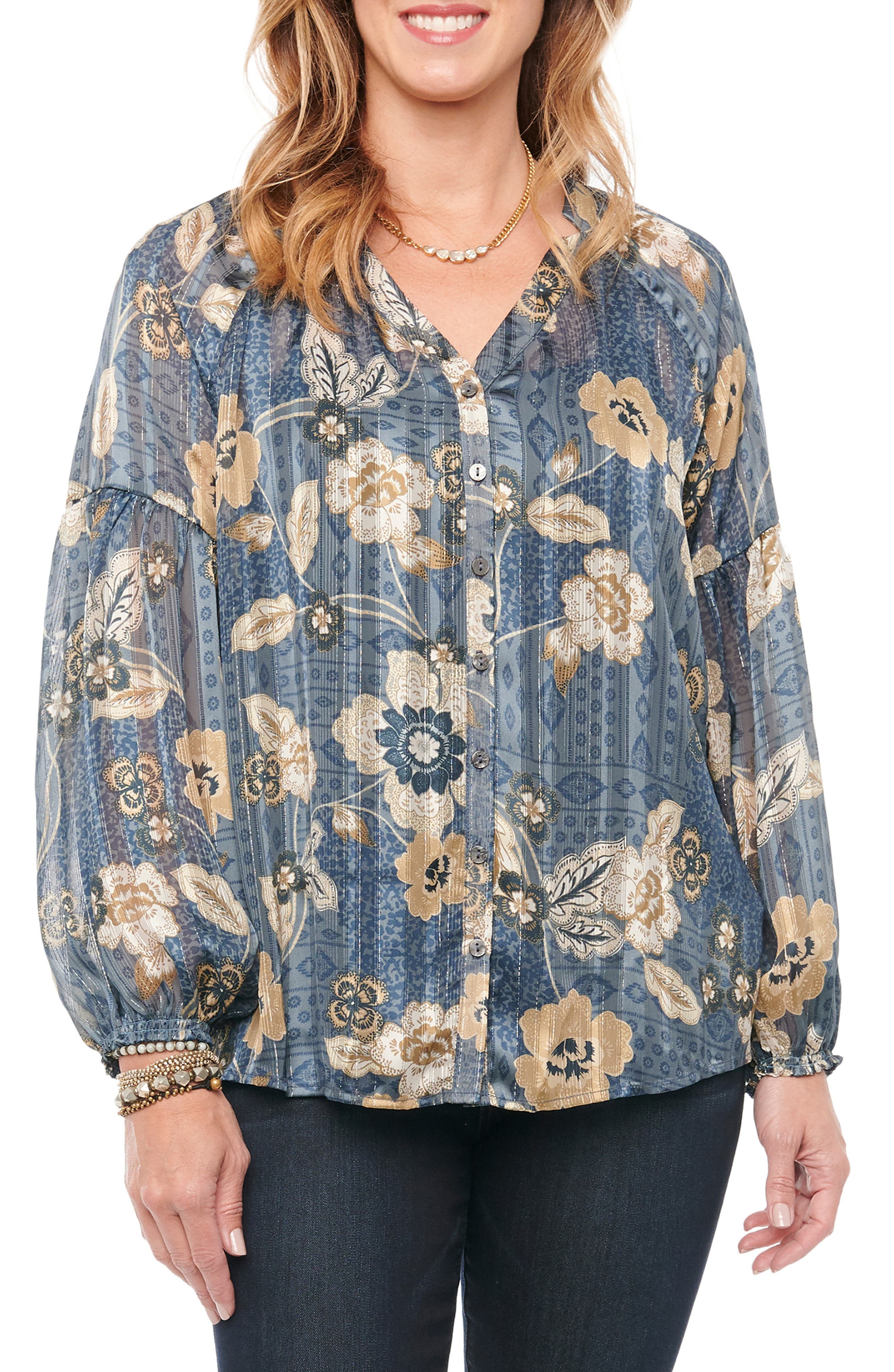 Awash in a floral print and shimmering metallic shadow stripes, this button-down blouse is workwear-ready and equally suitable for your casual style. Style Name: Wit & Wisdom Floral Metallic Shadow Stripe Blouse (Plus Size). Style Number: 6133445. Available in stores.