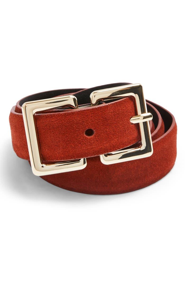 TOPSHOP Rec Logo Belt, Main, color, RUST