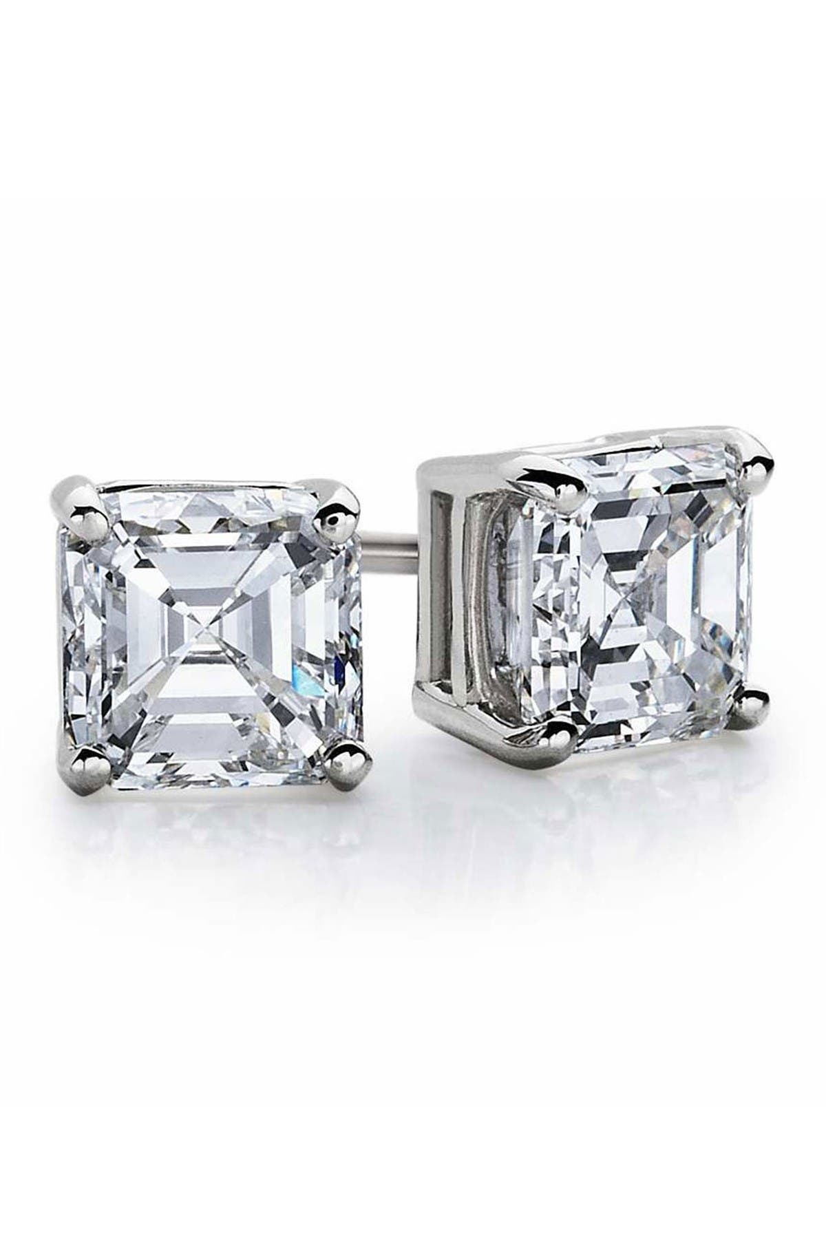 Image of Suzy Levian Sterling Silver Asscher-Cut White CZ Stud Earrings