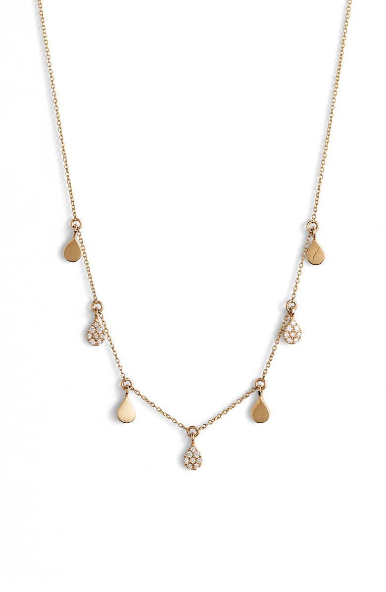 DANA REBECCA DESIGNS Diamond and Disc Dangle Necklace, Main, color, YELLOW GOLD