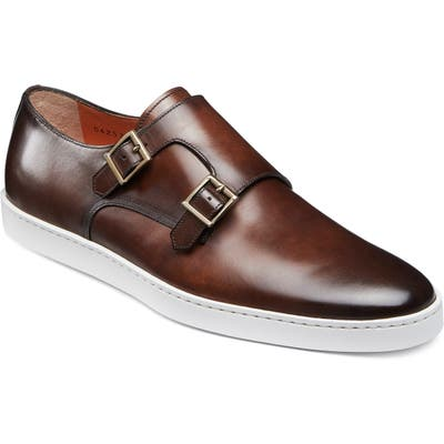 Santoni Fremont Double Monk Strap Shoe, Brown