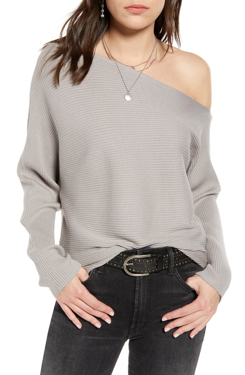 TREASURE & BOND One-Shoulder Pullover, Main, color, GREY OPAL