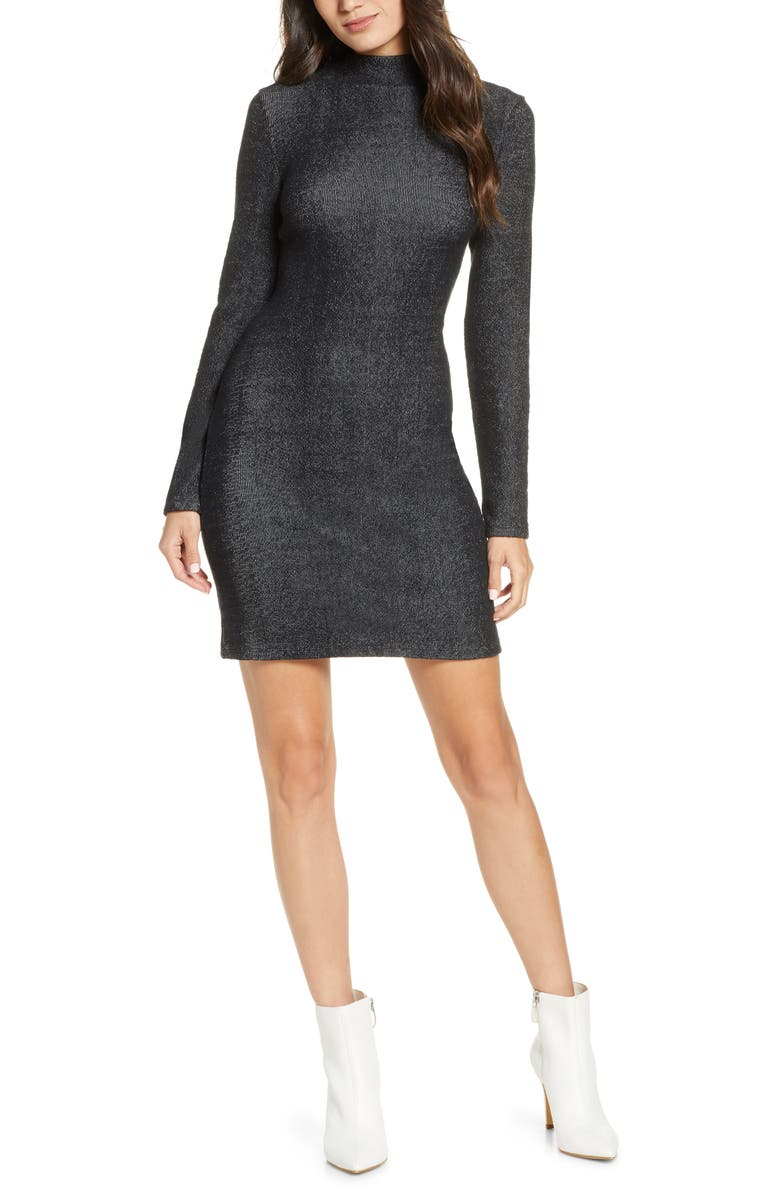 FRENCH CONNECTION Petra Long Sleeve Knit Dress, Main, color, BLACK