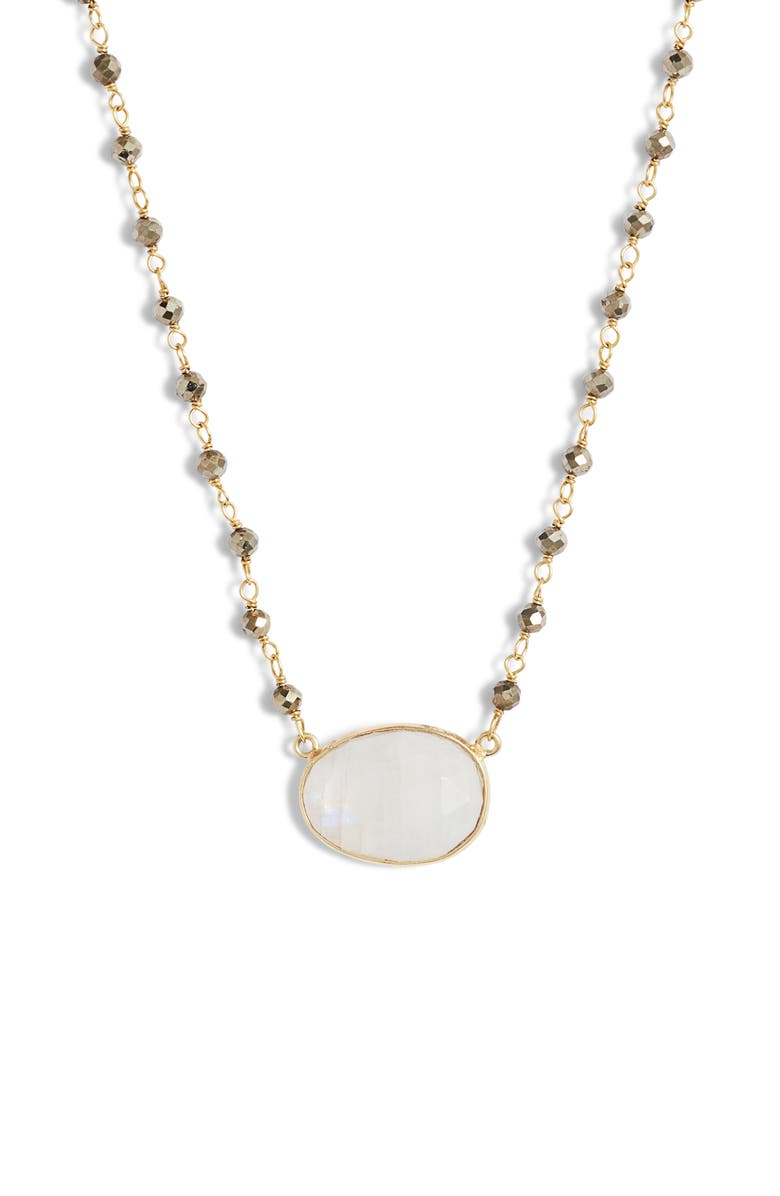 COLLECTIONS BY JOYA Ellie Beaded Stone Pendant Necklace, Main, color, PYRITE/ MOONSTONE