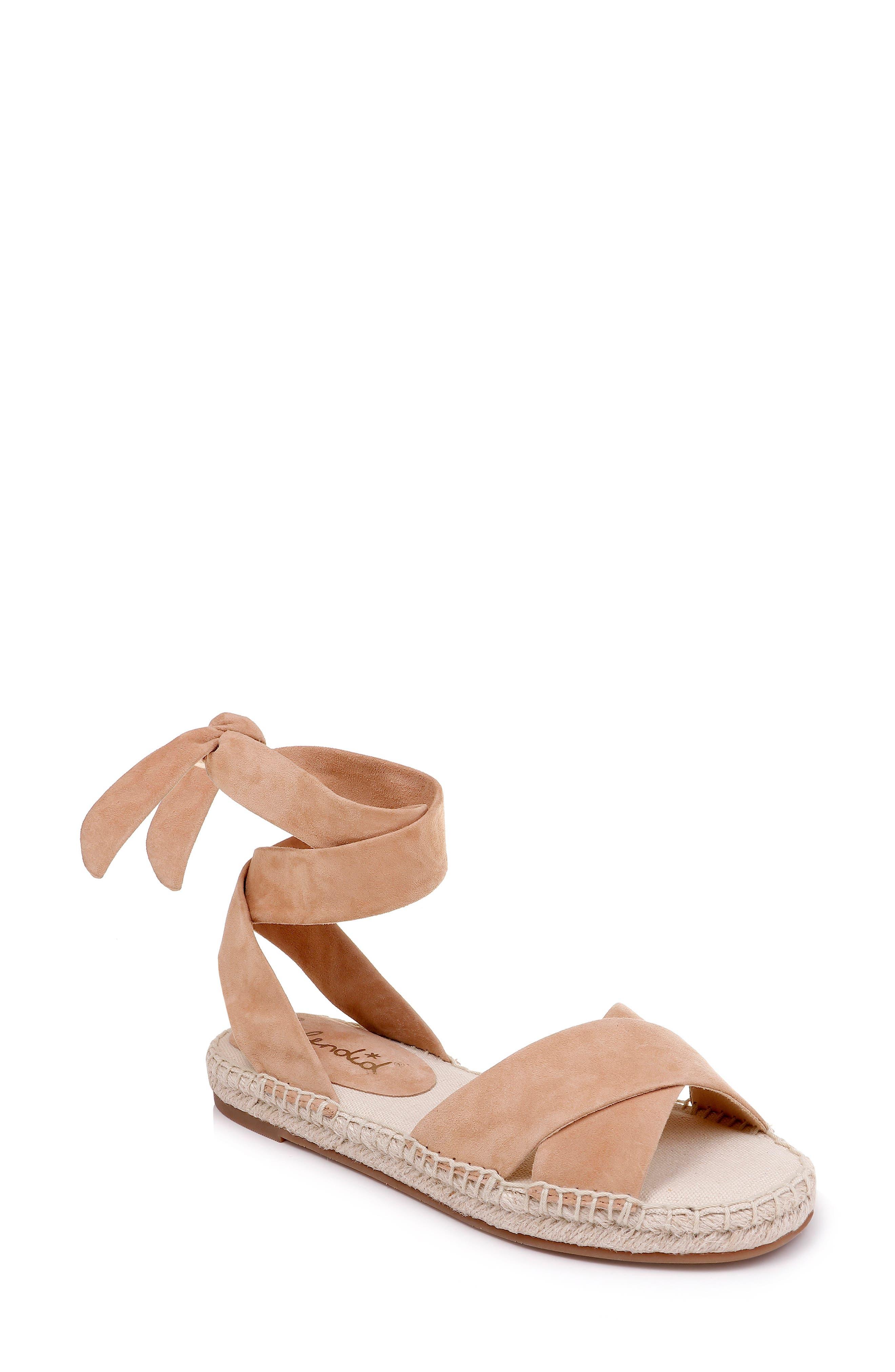 Tereza Ankle Wrap Sandal, Main, color, TAN SUEDE