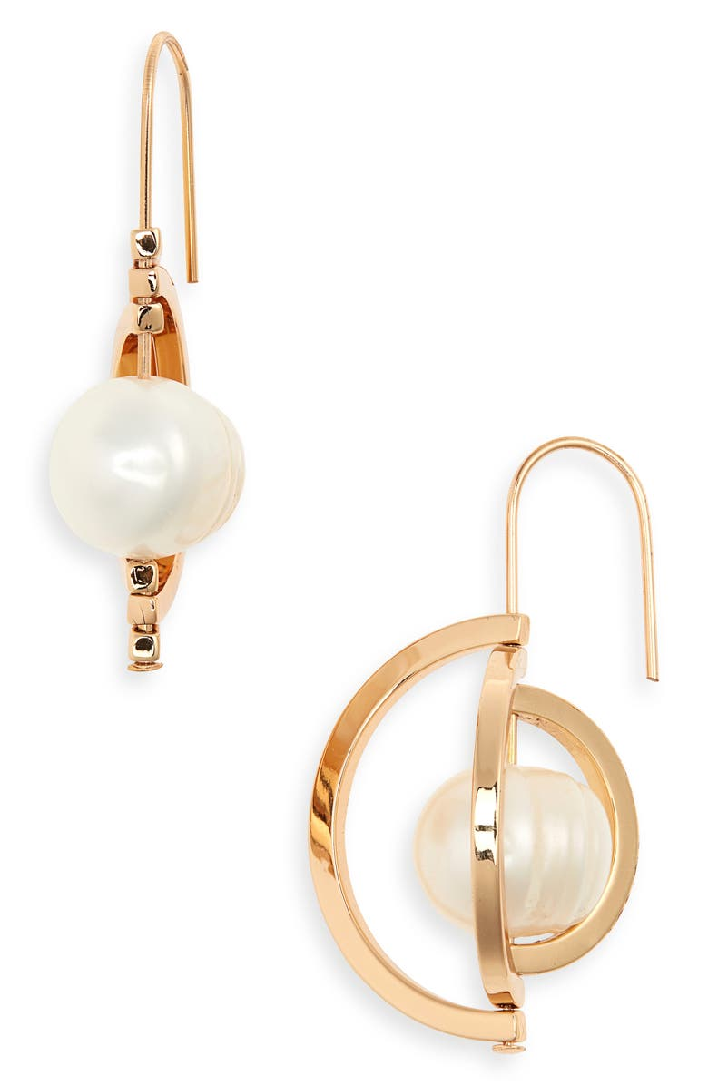 TORY BURCH Spinning Pearl Drop Earrings, Main, color, TORY GOLD / PEARL