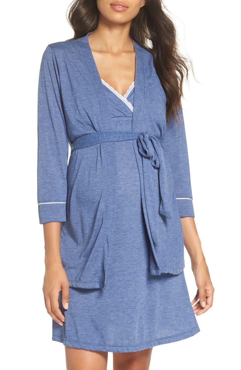 e85a931b0 Maternity/Nursing Robe & Chemise, Main, color, CHAMBRAY