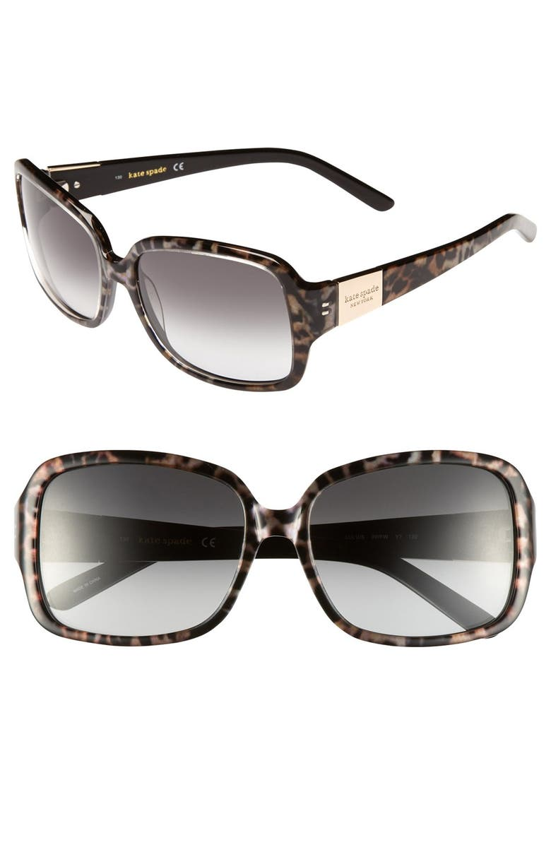 KATE SPADE NEW YORK lulu 55mm rectangular sunglasses, Main, color, 006