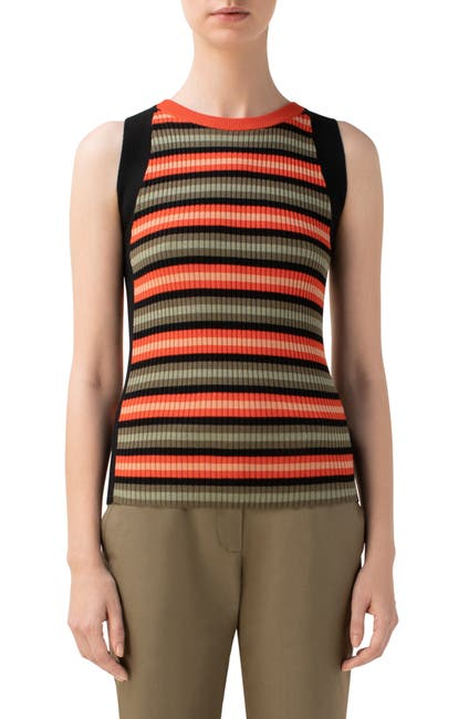 Image of Akris punto Stripe Rib Sleeveless Merino Wool Top