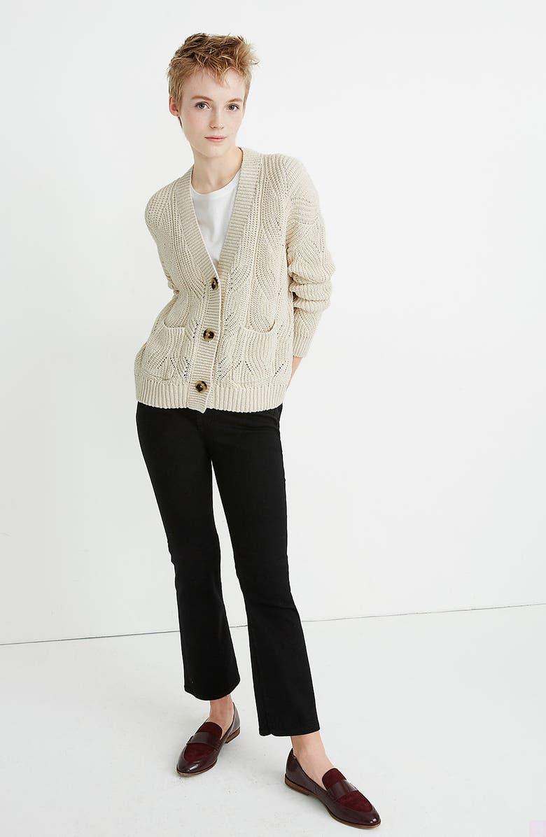 MADEWELL Hillview Cardigan Sweater, Alternate, color, ANTIQUE CREAM
