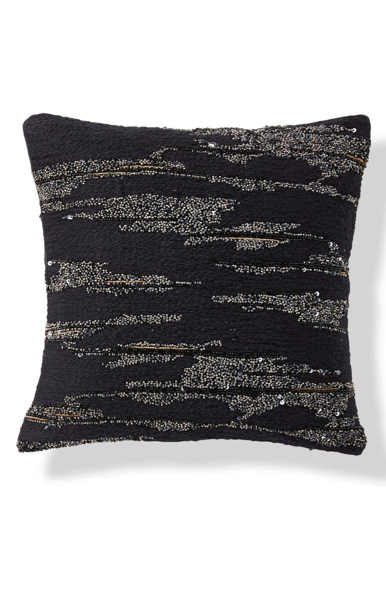 DONNA KARAN NEW YORK Onyx Beaded Accent Pillow, Main, color, ONYX