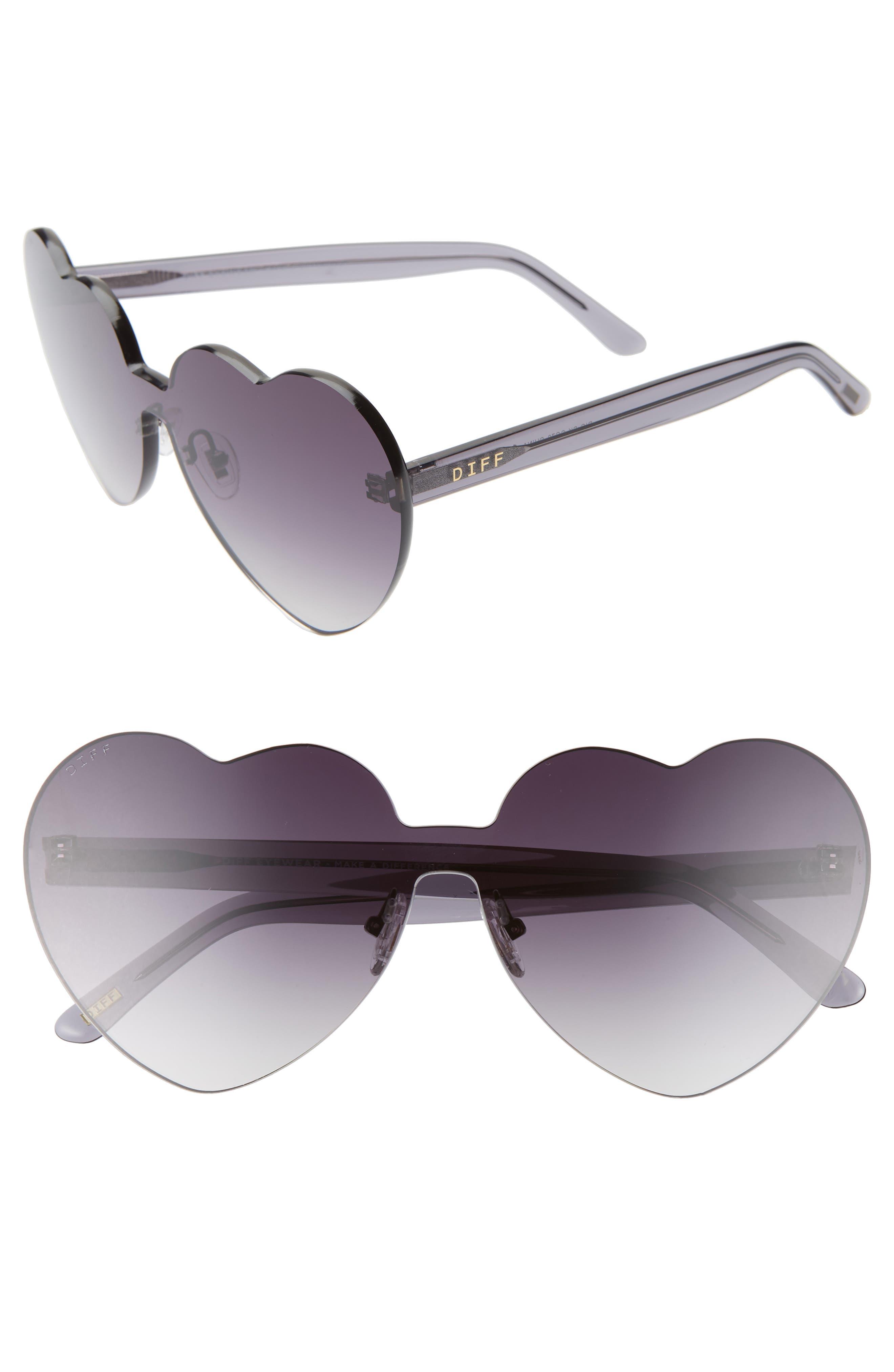 Rio 64mm Heart Shaped Sunglasses, Main, color, BLACK/ SMOKE GREY