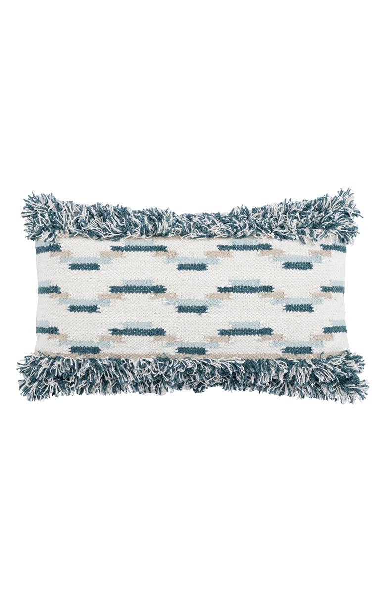 VILLA HOME COLLECTION Ronan Fringe Accent Pillow, Main, color, MARINE/ SKY BLUE
