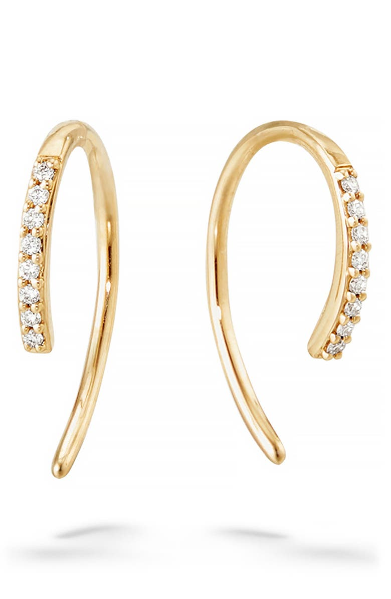LANA JEWELRY Hooked On Diamond Hoop Earrings, Main, color, YELLOW GOLD