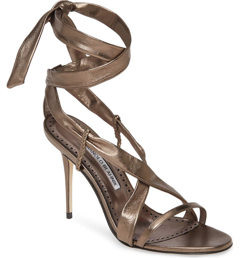 MANOLO BLAHNIK Tor Metallic Ankle Wrap Sandal, Main, color, STEEL