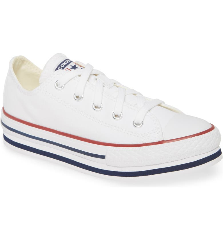 CONVERSE Chuck Taylor<sup>®</sup> All Star<sup>®</sup> Low Top Platform Sneaker, Main, color, WHITE/ MIDNIGHT NAVY/ GARNET