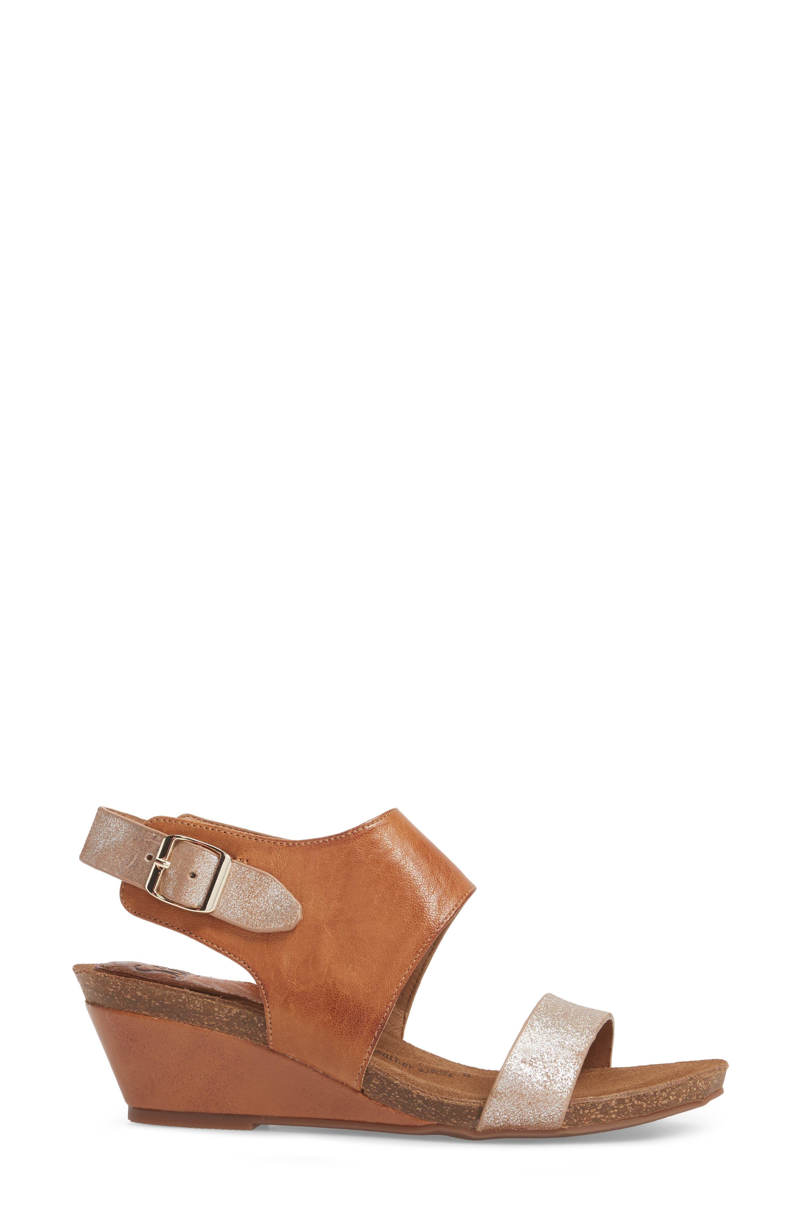,                             'Vanita' Leather Sandal,                             Alternate thumbnail 3, color,                             LUGGAGE/ SILVER LEATHER
