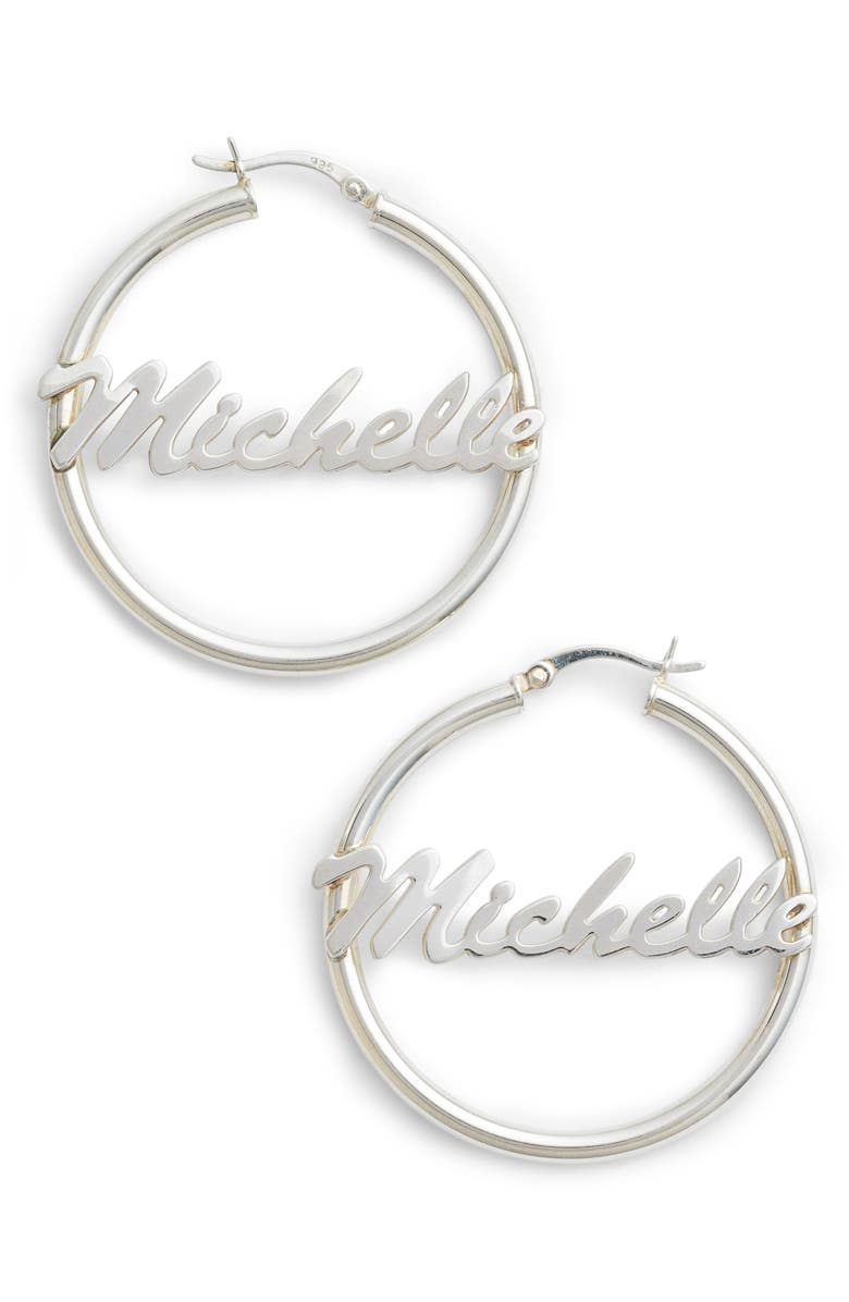 ARGENTO VIVO Personalized Large Hoop Earrings, Main, color, SILVER