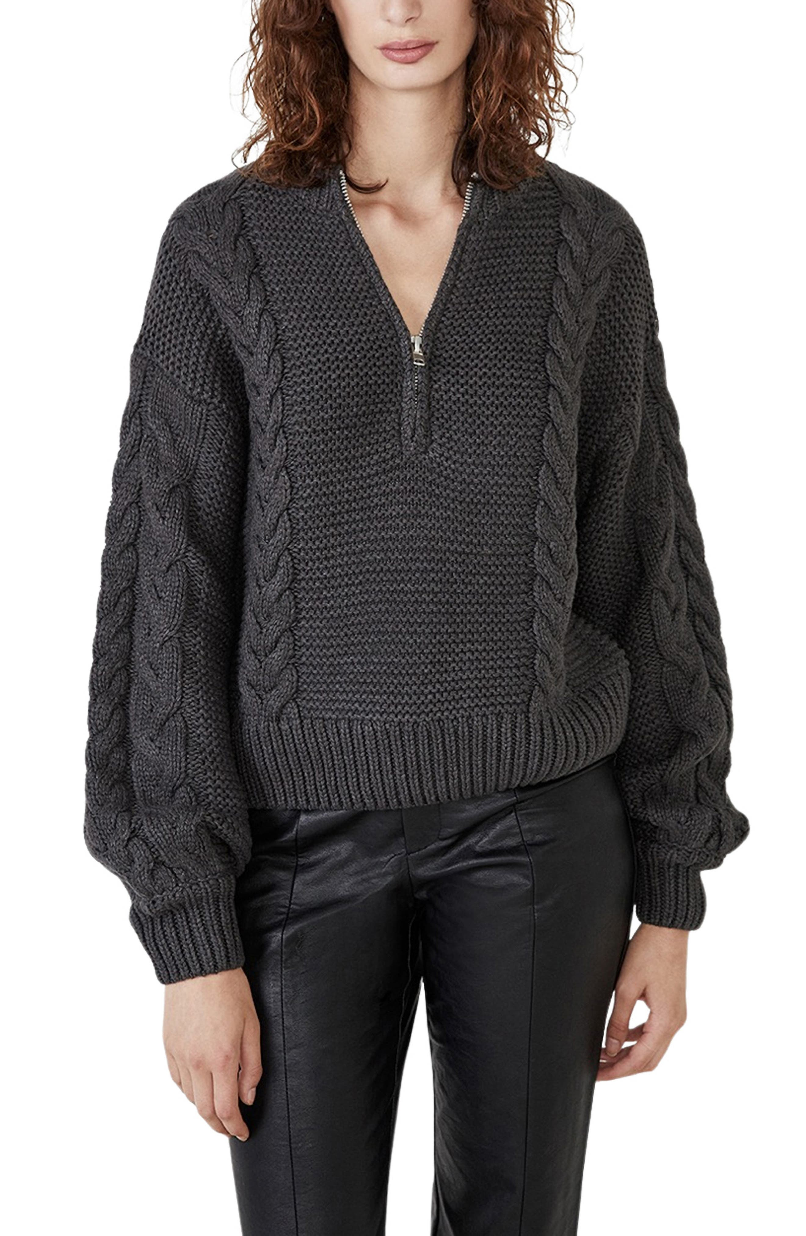 Zoe Zip Cable Knit Sweater