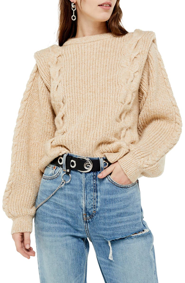 TOPSHOP Cable Knit Sweater, Main, color, OATMEAL