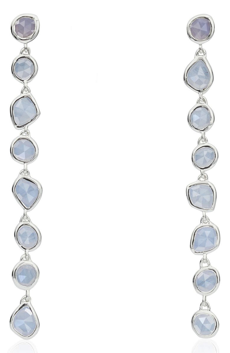 MONICA VINADER Siren Mini Nugget Earrings, Main, color, SILVER/ BLUE LACE AGATE