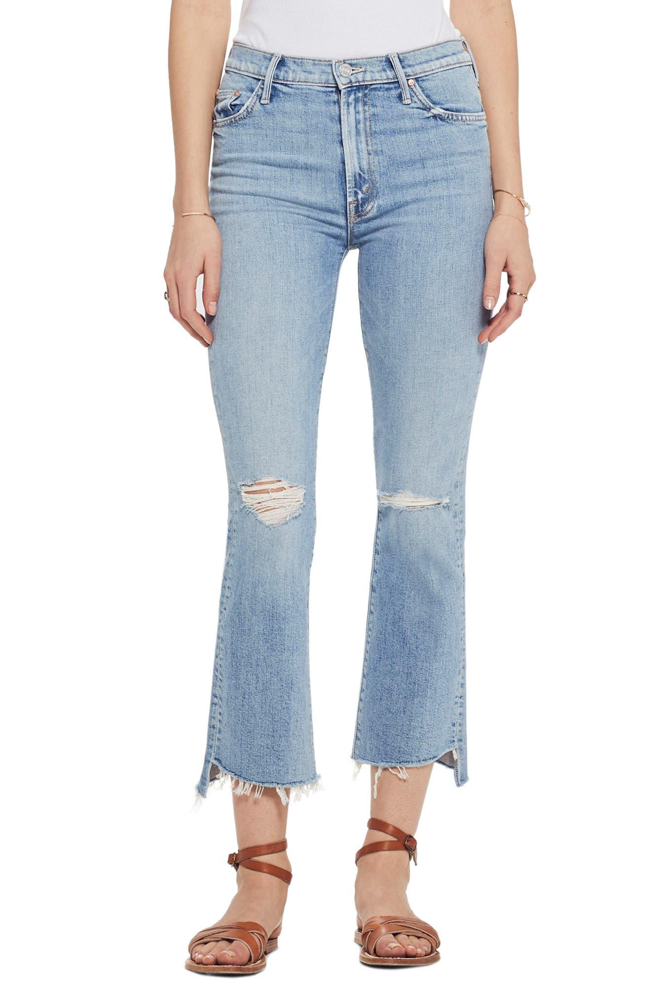 Image of MOTHER The Insider High Waist Crop Step Fray Hem Bootcut Jeans
