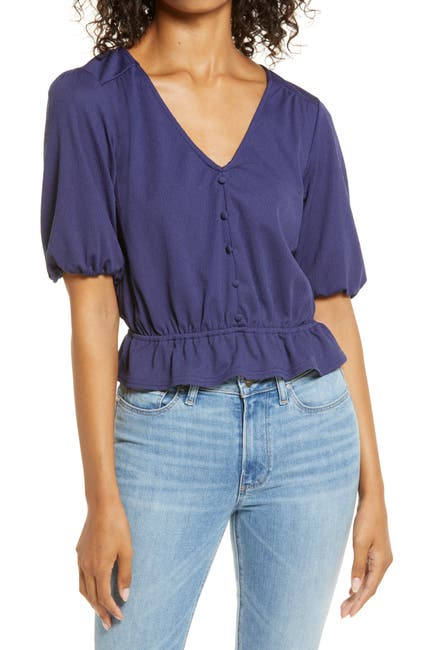 Image of 1.State Short Sleeve Crinkle Knit Top