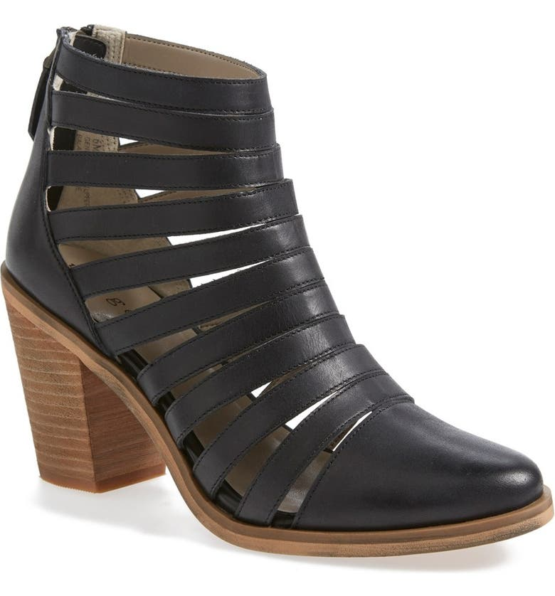 HINGE 'Dresden' Caged Leather Bootie, Main, color, 001