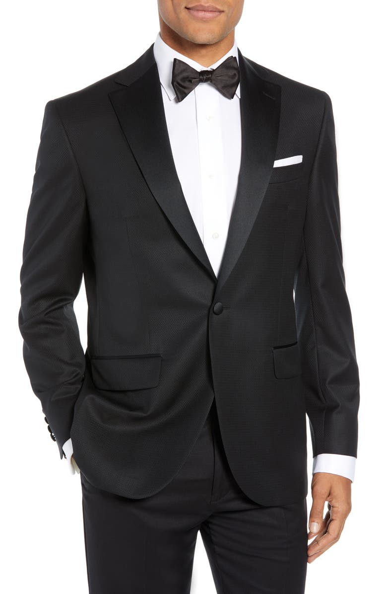 DAVID DONAHUE Reed Wool Dinner Jacket, Main, color, 001