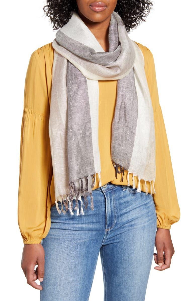 NORDSTROM Stripe Linen Blend Scarf, Main, color, GREY COMBO BLISS STRIPE