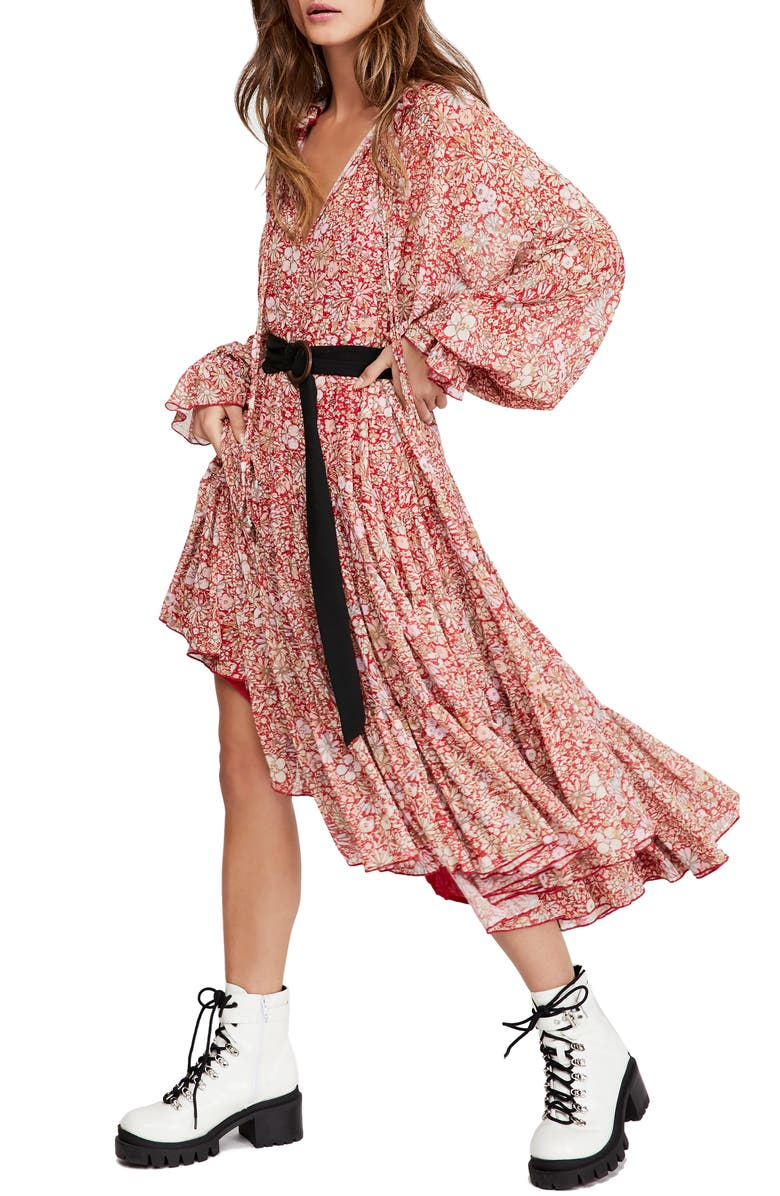 FREE PEOPLE Feeling Groovy Long Sleeve Midi Dress, Main, color, RED