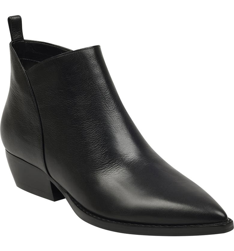 MARC FISHER LTD Obrra Pointy Toe Bootie, Main, color, BLACK LEATHER