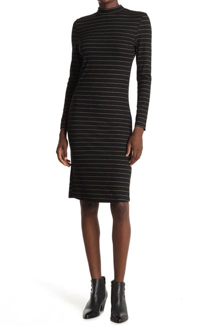 Image of BB Dakota Gold Rush Stripe Mock Neck Dress