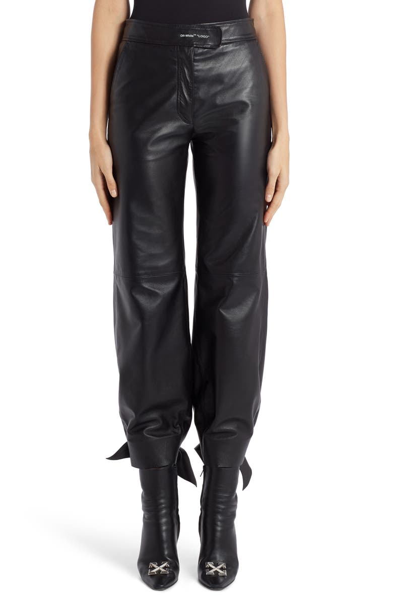 OFF-WHITE Bow Leather Track Pants, Main, color, 001