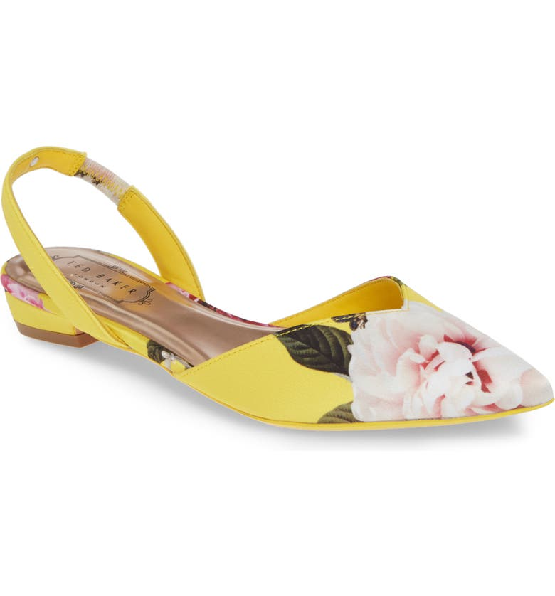 TED BAKER LONDON Primlap Flat, Main, color, MAGNIFICENT YELLOW SATIN