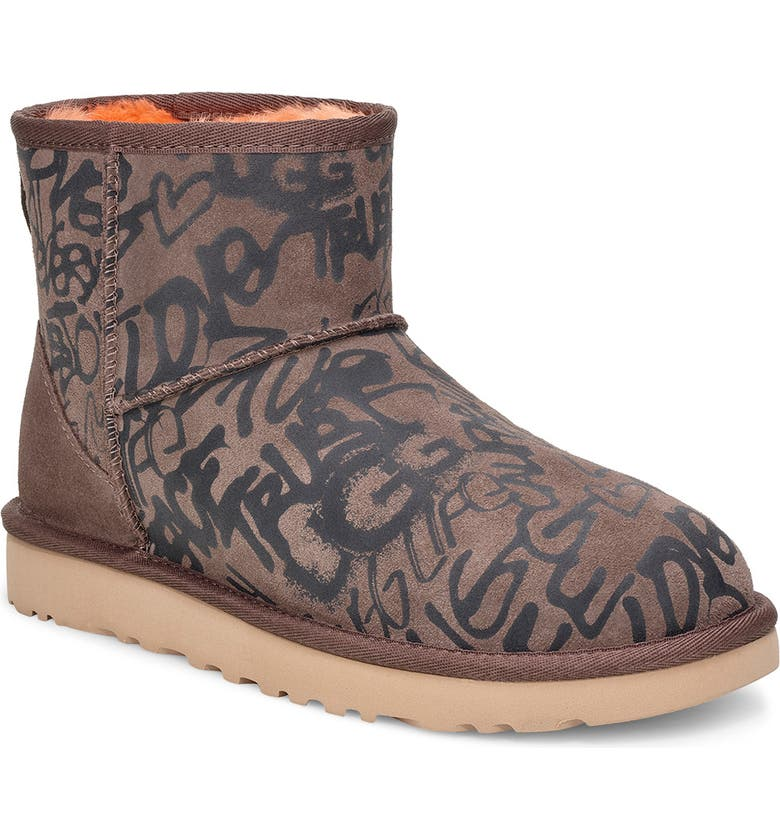 UGG<SUP>®</SUP> Classic Mini Street Graffiti Boot, Main, color, SLATE SUEDE
