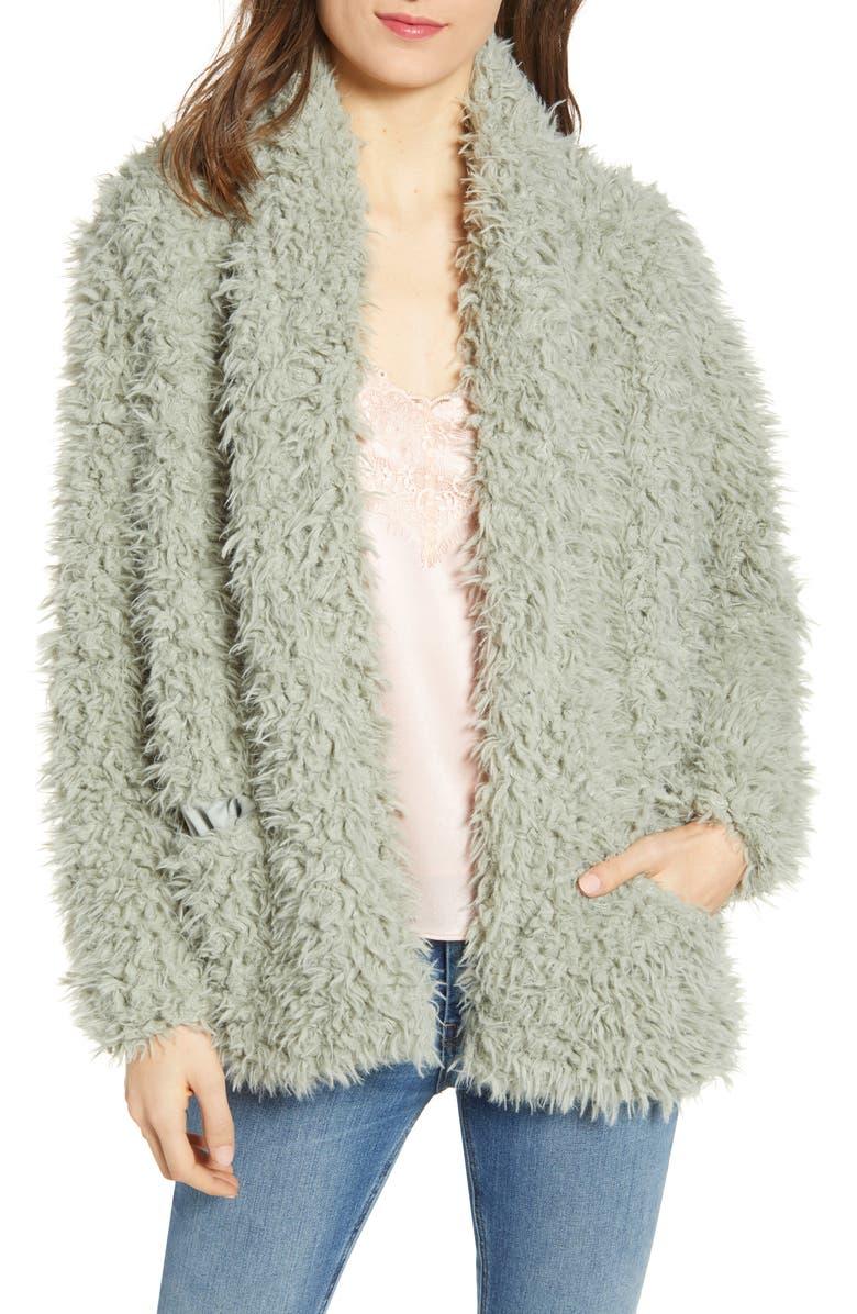 LOVE, FIRE Faux Fur Jacket, Main, color, MINT